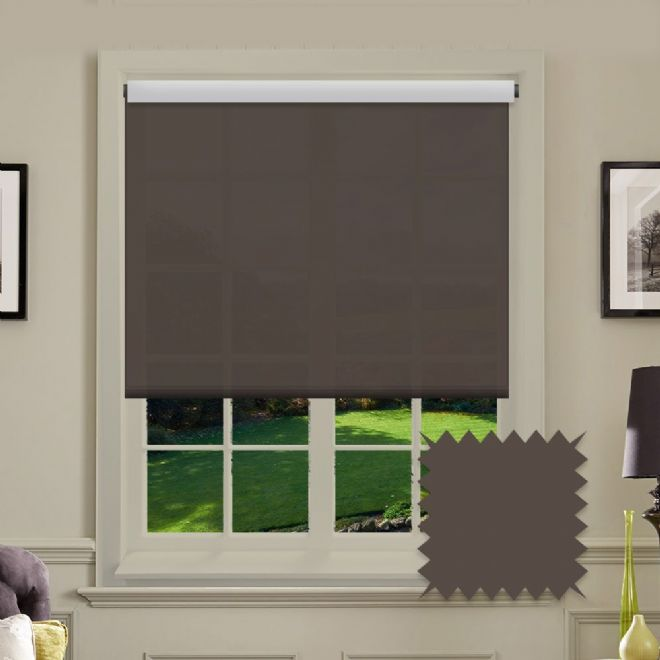 White Roller Blind - Astral Chocolate Brown Plain - Just Blinds